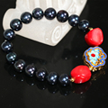 9-10mm natural black pearl approx round beads strand beaded bracelet for women red coral cloisonne elegant jewelry 7.5inch B2970