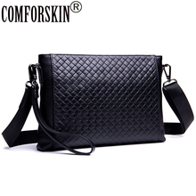 COMFORSKIN Premium Cowhide Leather Knitting Style Mens Day Clutches 2018 New Arrivals Alligator Large Capacity Messenger Bags