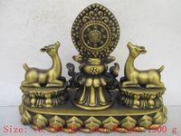 Китайский тибетского Буддизм благоприятный символ бронза 2 олень Скульптура статуя
