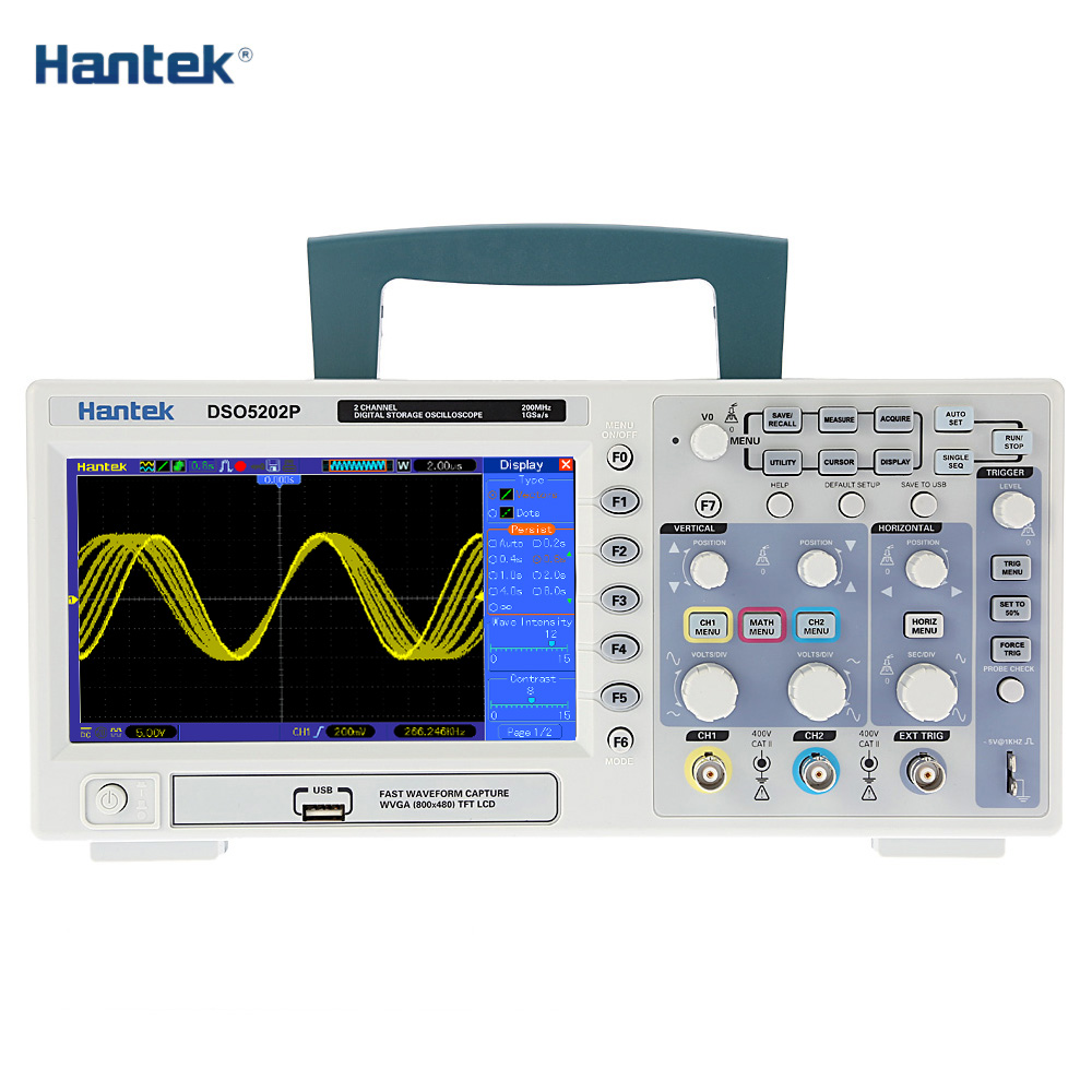 Hantek DSO5202P Digital Storage Oscilloscope Professional osciloscopio 2CH 200MHz 40K 1Gsa/s Color TFT Display diagnostic-tool цена