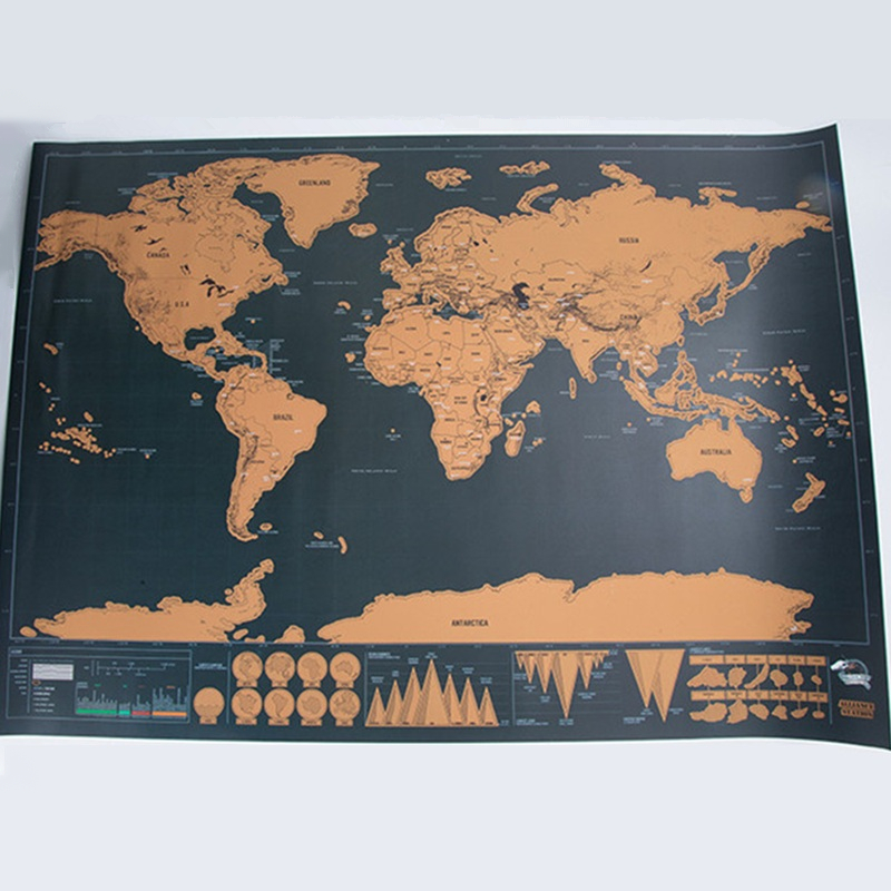 Deluxe Erase World Travel Map Scratch Off Large Size Tour World Map Wall Stickers Travel Scratch Map Room Home Office Decoration