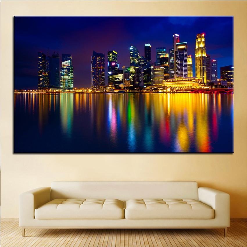 Large Size Printing Oil Painting Marina Bay Singapore Wall Painting