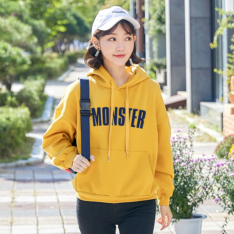 Kpop Top Promotion Panda Even The Cap Guard Clothing Female 2019 Spring Loose Sports Sleeves Plus Velvet Thickened Student Coat