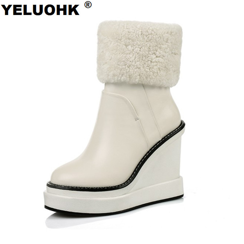 Brand New Genuine Leather Boots Women High Heels Warm Snow Boots Wedge Shoes Woman Comfortable Ankle Boots For Women Platform fedonas top quality winter ankle boots women platform high heels genuine leather shoes woman warm plush snow motorcycle boots