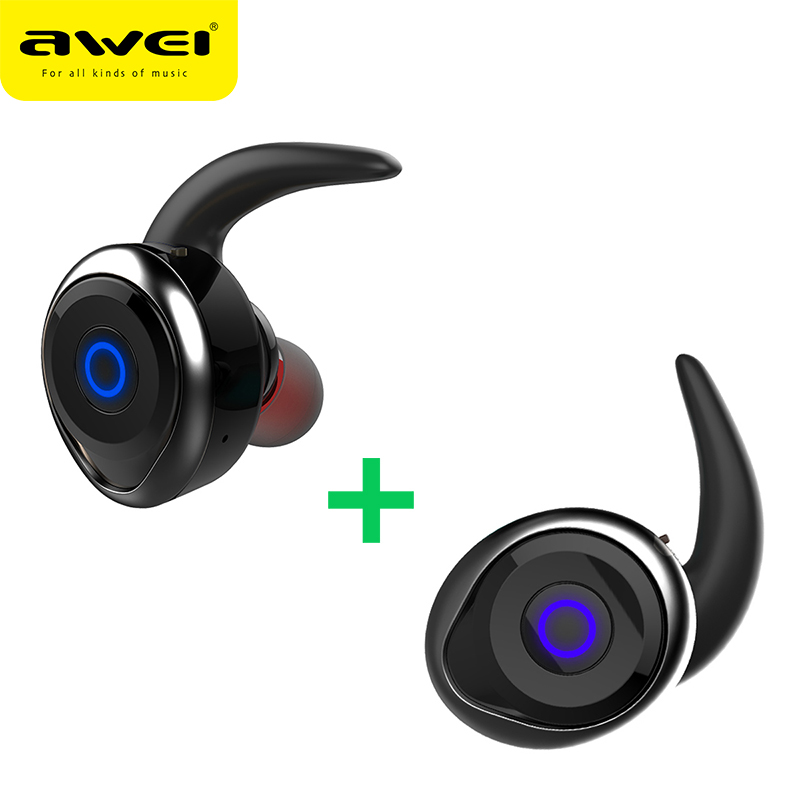 AWEI T1 TWS Mini Bluetooth Earphone Headset Double Wireless Earbuds Cordless Headphones Casque Kulakl k Earpiece For Cellphone wireless headphones bluetooth earphone suitable for iphone samsung bluetooth headset 4 2 tws mini microphone