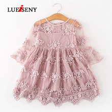 LUEISENY Summer 2019 Princess Dress Kids Dresses For Girls Lace Flower Party Wedding Baby Girl Clothes