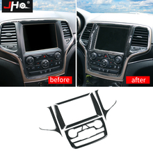 JHO Center Console Navigation Panel Cover Trim For 2014-19 Jeep Grand Cherokee 2015 2016 17 18 Real Carbon Fiber Car Accessories цены онлайн