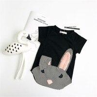 EnkeliBB Bunny T gömlek Için Yaz Aylarında Çocuklar Güzel Tavşan Tops çocuk Sevimli Uzun Tees Bebek Kız Nedensel Tarzı Giyim Hayvan Tops