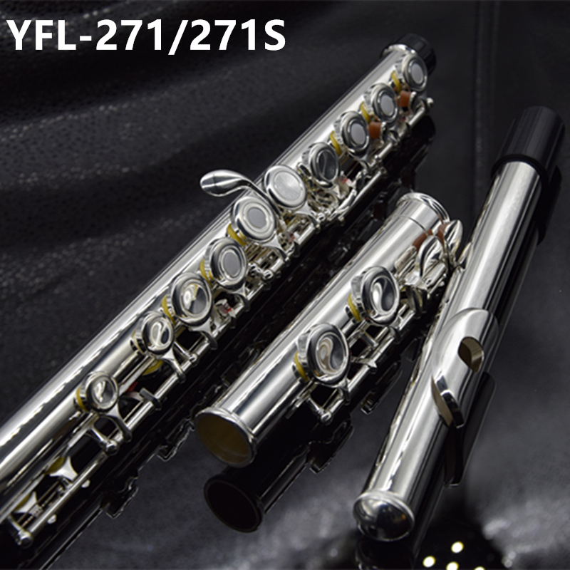 Top Japan Flute 16 Hole with E Key YFL 271/271S Silver Plated Flute C Key White Copper Flauta Transversal Music Instrumentos