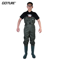 Goture Army Green Waterproof Bootfoot Chest Fishing Waders With Shoes Euro Size #43 #44 #45 #46 Suit For Fly Fishing