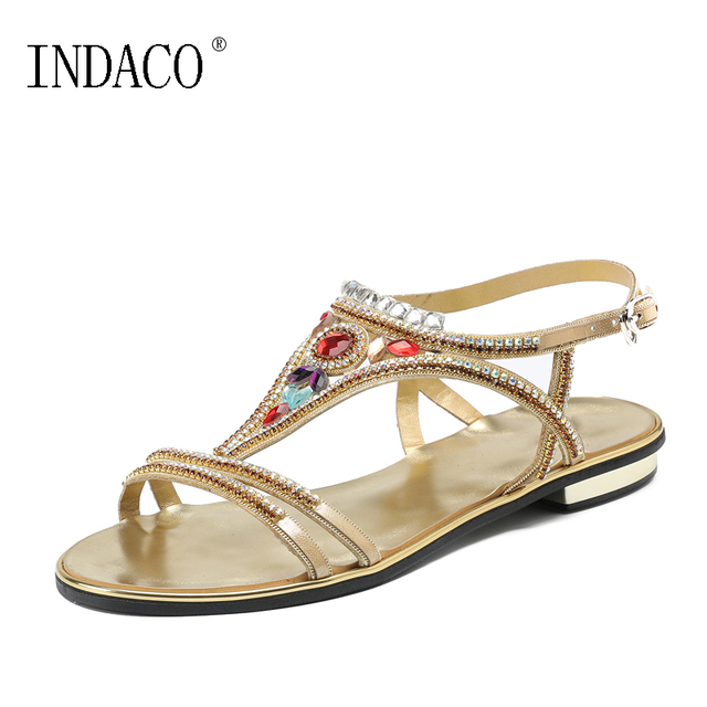 27940f1e6d1e 2018 Women Summer Rhinestone Flat Sandals T-Strap Fashion Sexy Beach Shoes  Gladiator Sandals Women Sandalia Feminina