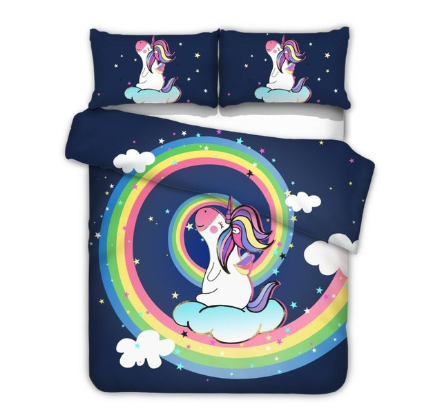 Del fumetto Arcobaleno Unicorn Set di Biancheria Da Letto 2/3 pz Singola Doppia