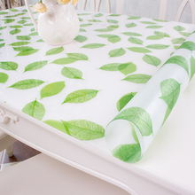 PVC soft glass mat waterproof Plastic 3D tablecloth no-clean green leaves pattern europe morden style dining table cloth cover