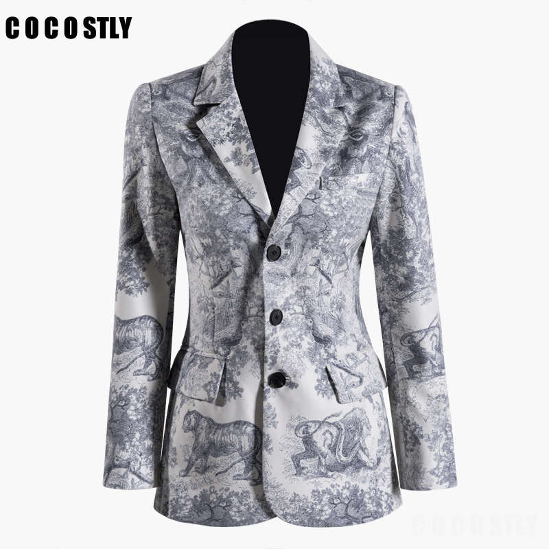Print Single Breasted Elegant Ladies Blazer Women Jackets 2019 blazers and jackets Vintage Workwear Office Ladies Coat
