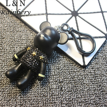 Rainbery 2016 NEW Full Rhinestones gloomy bear key ring cross Keychain Lovely Holiday Gifts Car Keyring Key Chain