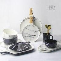 עיצוב יצירתי בסגנון אירופאי דפוס שיש שולחן קרמיקה לוח חותך קערת מגש צלחת צלחת פורצלן סט כלי אוכל