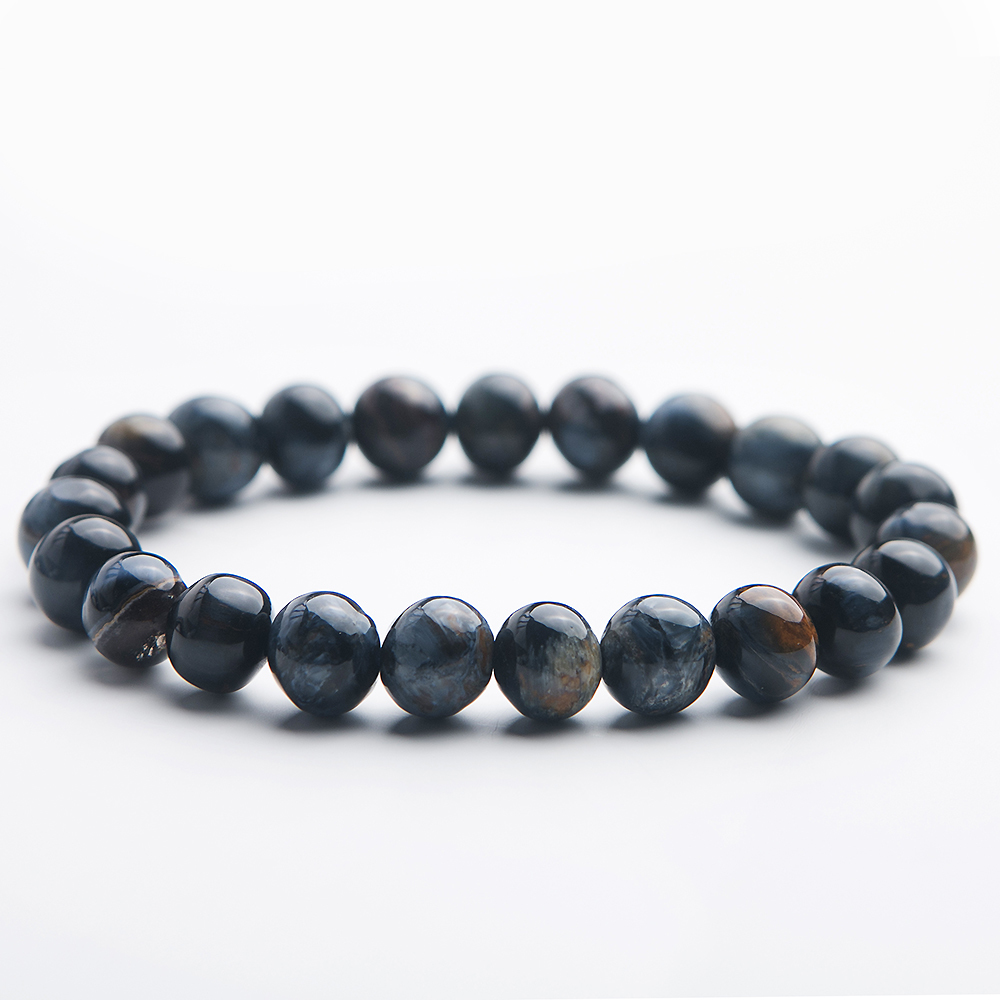 7.5mm Genuine Natural Blue Pietersite Namibia Bracelet Best Chatoyant Round Beads Cat Eye Woman Man Reiki Stone Aaaaa