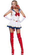 2017 New Arrival Ladies Sexy White Sailor Moon Costume Cartoon Movie Cosplay Girl Mercury Moon Mars Dress for Halloween Costume