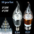 Newest 10pcs/Lot E27/E14 3*2W/4*2W LED Pull Taillight White/Warm White Silver/Gold LED Light Bulb Lamp For Interior Decoration
