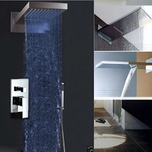Chrome Brass Waterfall Rain Shower Set Mixer Faucet Single Handle with Handshower Mixer Taps with LED