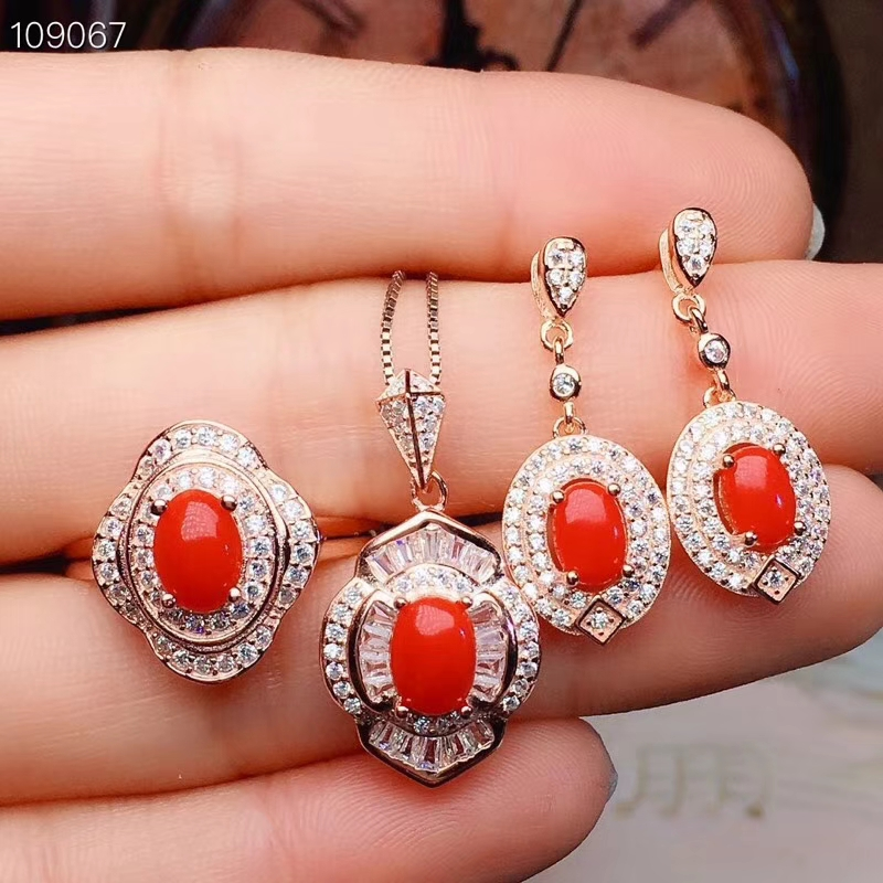 S925 silver natural red coral gem ring pendant earrings natural gemstone jewelry set Lovely round women wedding gift jewelry
