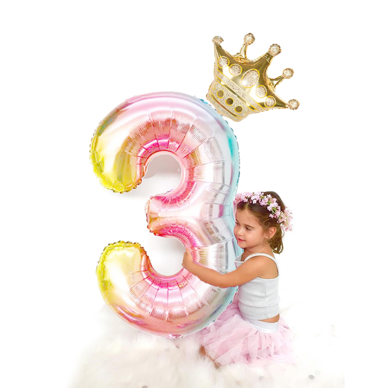 2pcs/lot 32inch Number Foil Balloons Digit air Ballon Kids Birthday Party Festival Party anniversary Crown Decor Supplies skipping rope