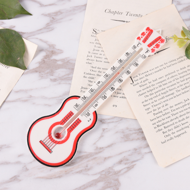Window Wall Thermometer Temperature Indoor Outdoor Wall Greenhouse Office  Garden Home Thermometer Guitar Shape High Quality