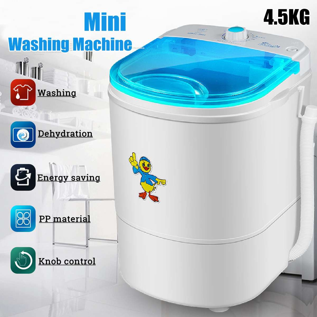 Washing-Machine Compact Washer Single-Barrel-Washer Spin Mini Portable Lb 225W For Low-Noise