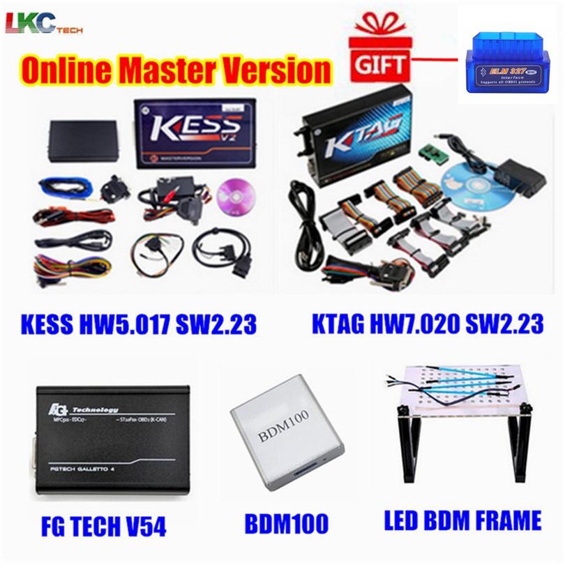 En gros! En ligne KESS V5.017 V2.23 + KTAG V7.020 V2.23 + FG TECH V54 + BDM100 + LED BDM cadre OBD2 gestionnaire Tuning Kit ECU programmeur
