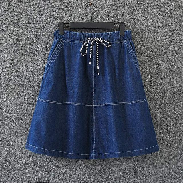 0c91eaaec S6 Spring Casual Women Denim skirts 3XL Plus Size Clothes Fashion  Drawstring waist A-line skirt 1005