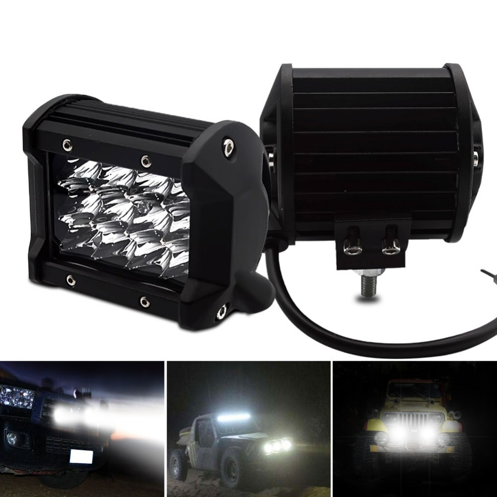 Safego 36W LED Flood Work Light Three Row 12 3W LED Chips Offroad Car Light Fog Light For Trunk Boat Tractor 60 Degree in Light Bar Work Light from Automobiles Motorcycles