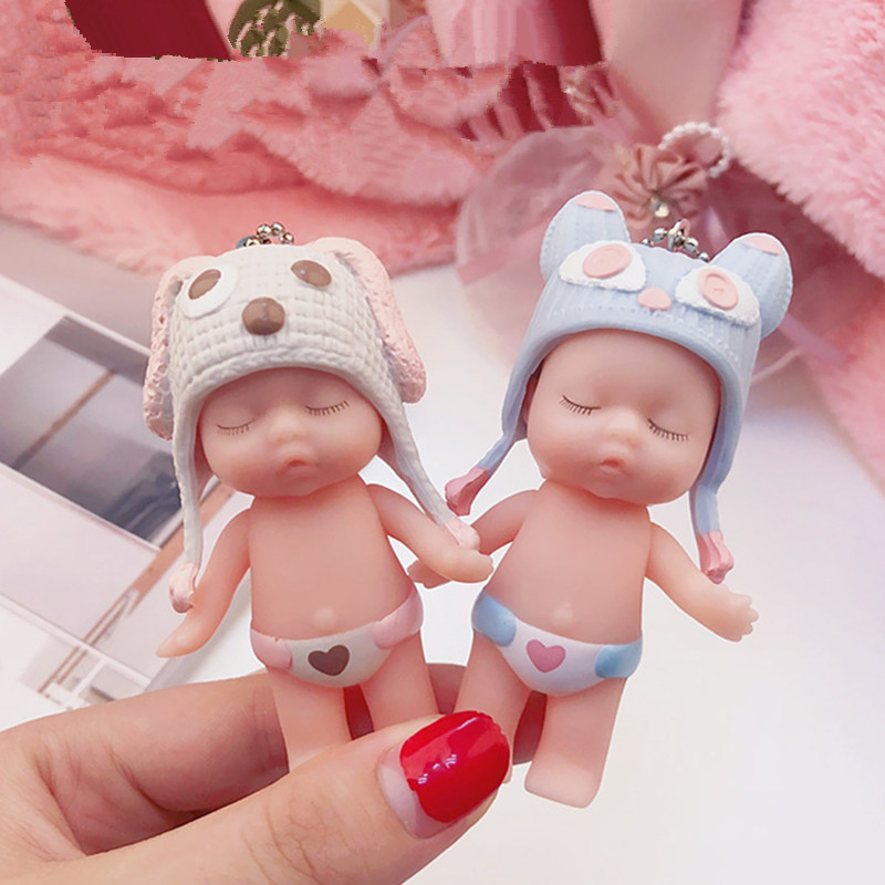 Cute Cartoon Sleeping Baby Doll Keychain PVC Lovely Animal Hat Baby Car Keyring Women Key Holder BagCharm Jewelry Gift Child Toy