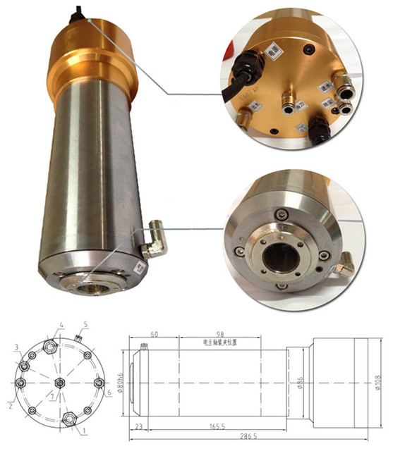 3HP 2.2kw 24000RPM ISO20 3 bearings Automatic Tool Changes ATC Spindles GDL80-20-24Z-2.2 220VAC CNC Router