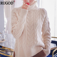 RUGOD New Women Turtleneck Cashmere Sweater 2018 Winter Warm Thick Knitted Pullover Female Elegant Long Sleeve Jumper Women Tops