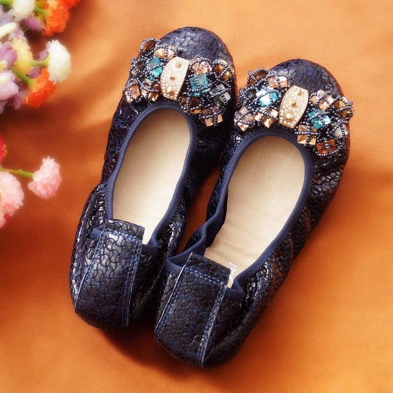 Mocassins en cuir véritable chaussures femme pliante danseuse mariages bout rond ballerines confortables sans lacet ballerines femmes chaussure plate
