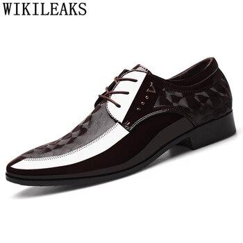 brown dress wedding shoes men formal italian patent leather shoes for men coiffeur elegant shoes men classic zapatos hombre bona 1