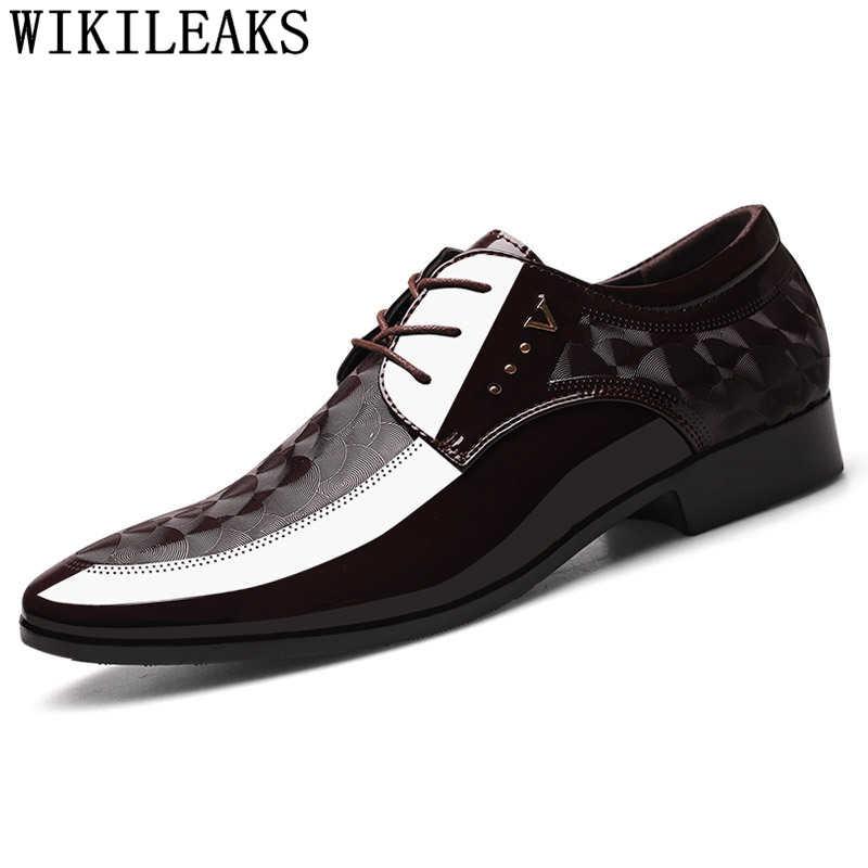 สีน้ำตาลชุดงานแต่งงานรองเท้าผู้ชายรองเท้าอย่างเป็นทางการอิตาเลี่ยนสิทธิบัตรรองเท้าหนังผู้ชาย coiffeur รองเท้า elegant รองเท้าผู้ชายคลาสสิก zapatos hombre bona