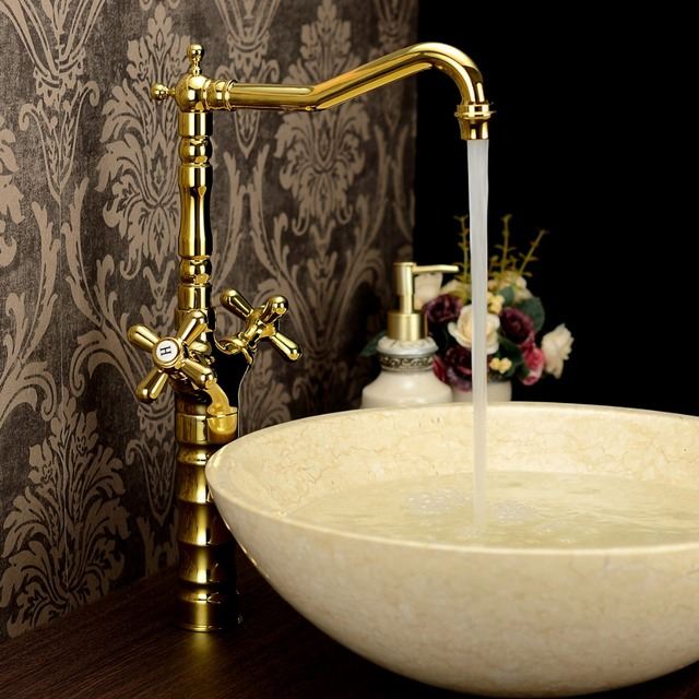 Bathroom sinks wash basin gold faucet-in Basin Faucets from Home ...