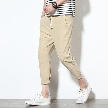 Men's Casual Pants Cotton Hip Hop Ankle-Length Men Pencil Pants Black ArmyGreen Fashion Casual Trousers Male 2019 New Hot Sale