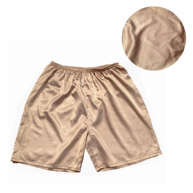 1pcs Mens Sleep Bottoms Solid Shorts Pants Summer Home Pajama Pants Nightwear Satin Silk Underwear JCX9164
