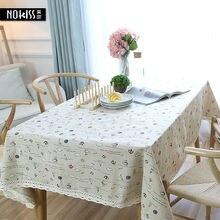 Estilo caliente de Europa de Algodón de Lino Mantel Rectangular Mesa de Mantel De Encaje Borde Impresa Letra A Prueba de Polvo Cubre toalha de mesa