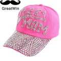 promotion hats new brand design Cheer mom letter simple fuchsia black denim rhinestone baseball cap snapback for women girl