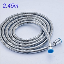 Uythner Free Shipping 2450mm Chrome Shower Hose Stainless Steel Shower Replacement Hose
