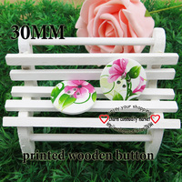 20PCS 30MM flower painting wooden buttons sewing clothes boots coat accessories MCB-596