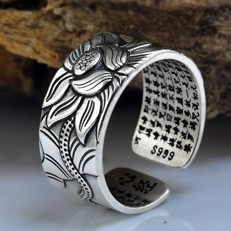 100% Real 999 Pure Silver Jewelry Lotus Flower Open Ring For Men Male Fashion Free Size Buddhistic Heart Sutra Rings Gifts