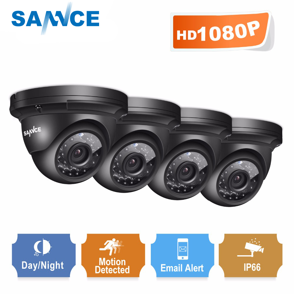 SANNCE full hd 1080 P видеонаблюдения Камера 4 шт. 2.0MP indoor Открытый Всепогодный наблюдения Камера с ИК ночного видения