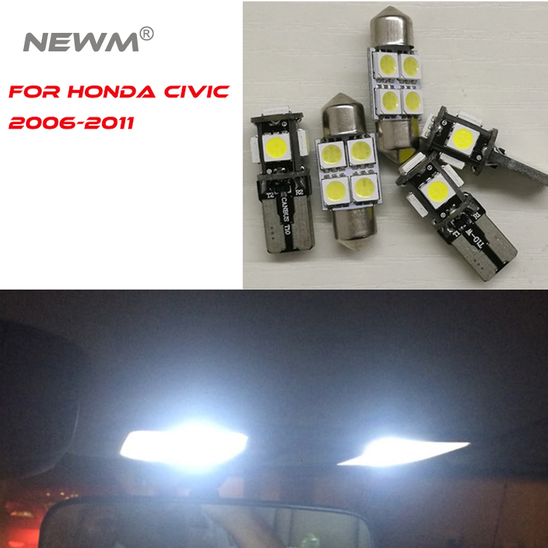6 Pieces Car 5050 Chip LED Bulb Lamp LED Kit Package White Automotive Interior Dome Map Trunk Light For Honda Civic 2006-2011 13pcs canbus car led light bulbs interior package kit for 2006 2010 jeep commander map dome trunk license plate lamp white page 3