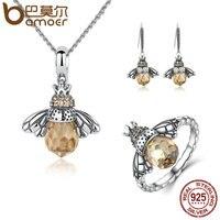 BAMOER 100 925 Sterling Silver Jewelry Set Lovely Orange Bee Animal Jewelry Sets Wedding Anniversary Bridal