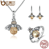 BAMOER 100 925 Sterling Silver Jewelry Set Lovely Orange Bee Animal Jewelry Sets Wedding Anniversary Bridal
