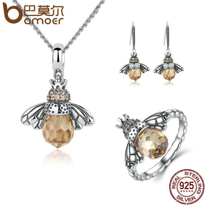 BAMOER 100% 925 Sterling Silver Jewelry Set Lovely Orange Bee Animal Jewelry Sets Wedding Anniversary Bridal Jewelry Sets ZHS043 товары для женщин lovely jewelry